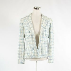 Tahari blue long sleeve blazer jacket 12